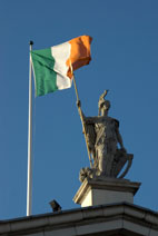 Irish flag flying on General Post Office - Dublin, Ireland