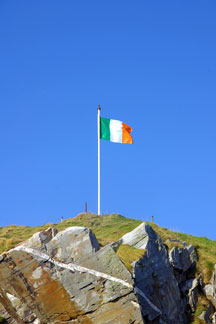 Irish national flag waving at Dunree Fort, County Donegal